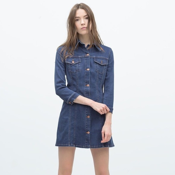 b92883e7c8 Zara Button Front Denim Shirt Dress XS. M 5b85ab2afb380342d64c0740